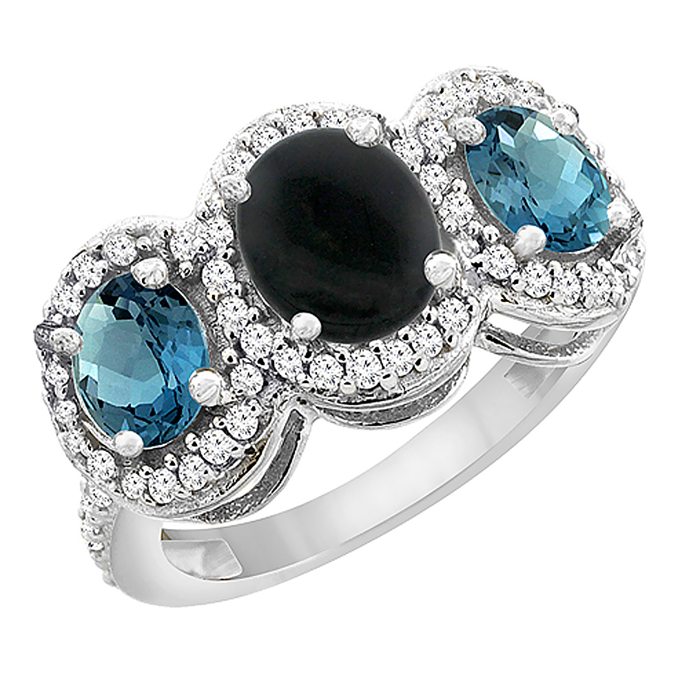 14K White Gold Natural Black Onyx & London Blue Topaz 3-Stone Ring Oval Diamond Accent, sizes 5 - 10