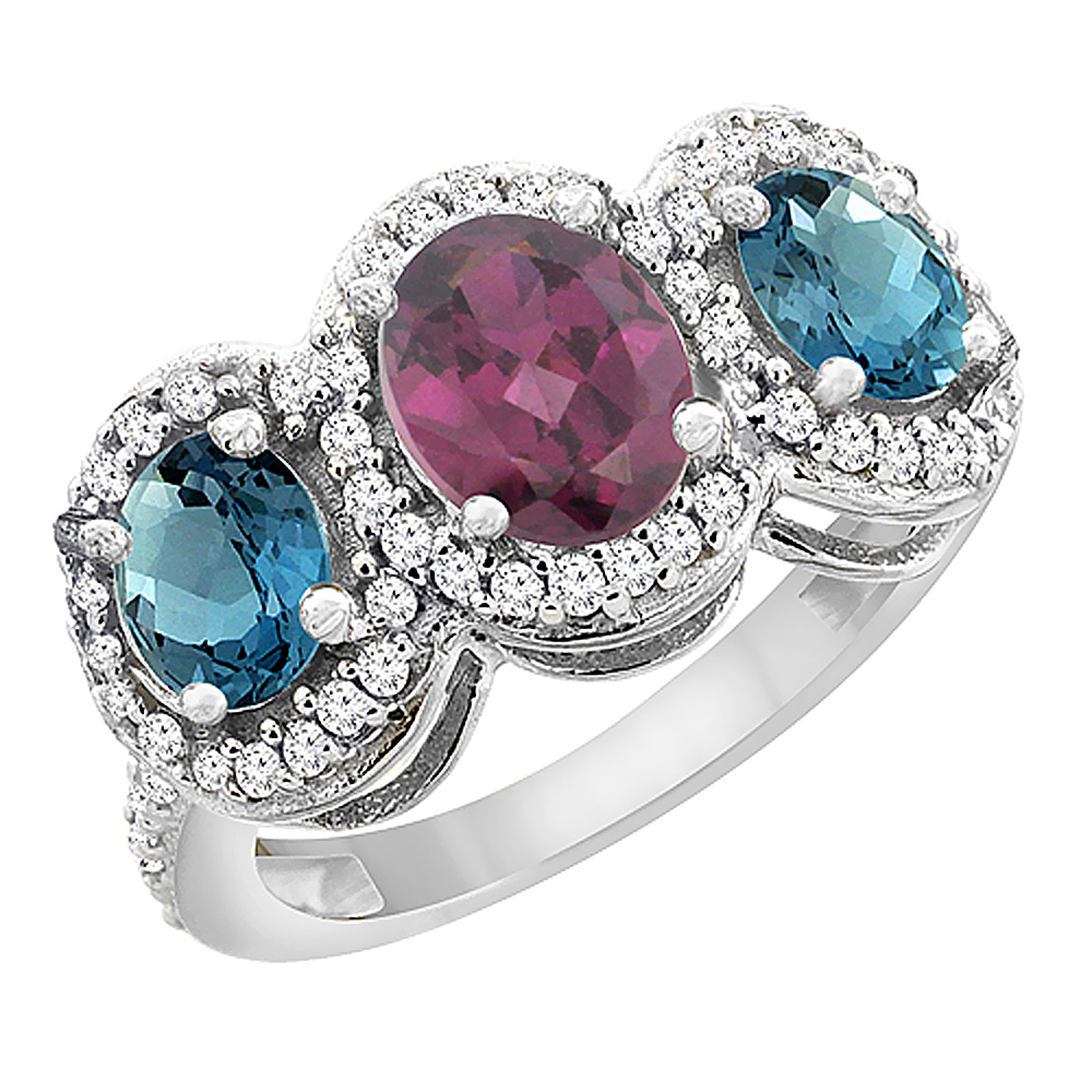 10K White Gold Natural Rhodolite & London Blue Topaz 3-Stone Ring Oval Diamond Accent, sizes 5 - 10