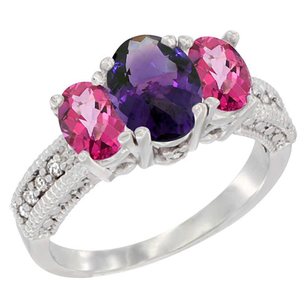 14K White Gold Diamond Natural Amethyst Ring Oval 3-stone with Pink Topaz, sizes 5 - 10