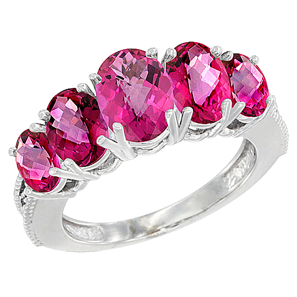 10K White Gold Diamond Natural Pink Topaz Ring 5-stone Oval 8x6 Ctr,7x5,6x4 sides, sizes 5 - 10