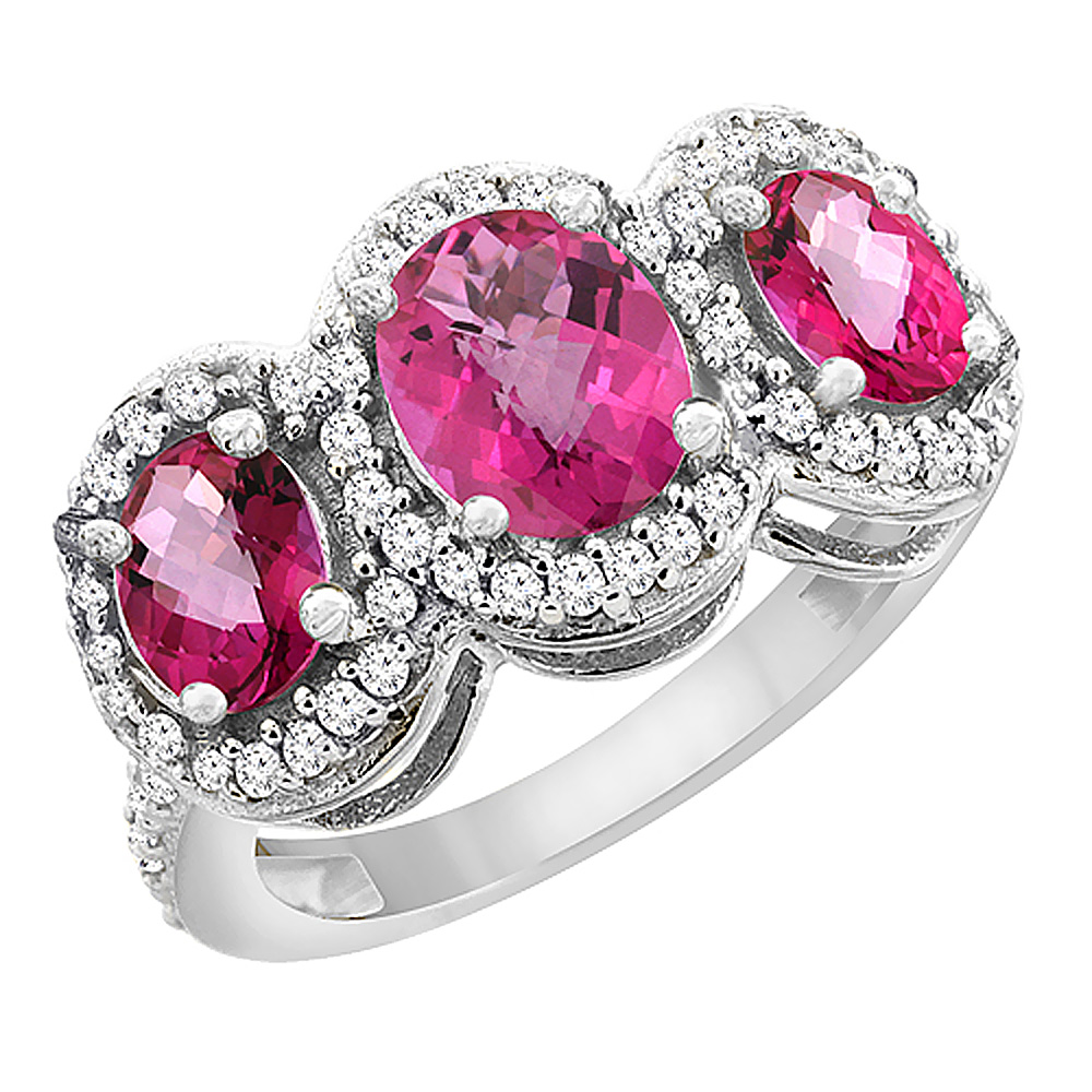10K White Gold Natural Pink Sapphire & Pink Topaz 3-Stone Ring Oval Diamond Accent, sizes 5 - 10