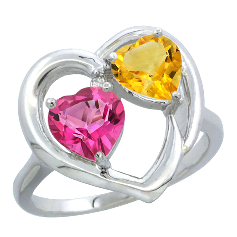 14K White Gold Diamond Two-stone Heart Ring 6 mm Natural Pink Topaz & Citrine, sizes 5-10
