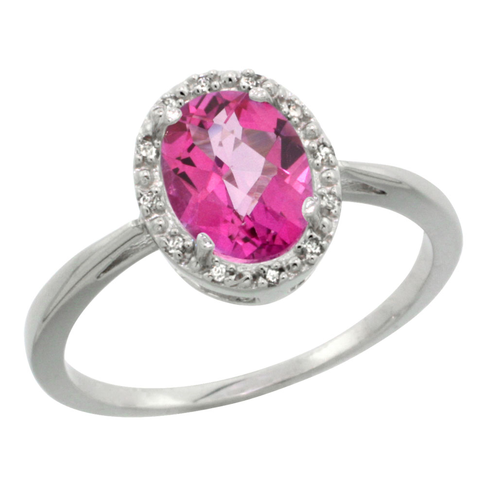 14K White Gold Natural Pink Topaz Diamond Halo Ring Oval 8X6mm, sizes 5-10