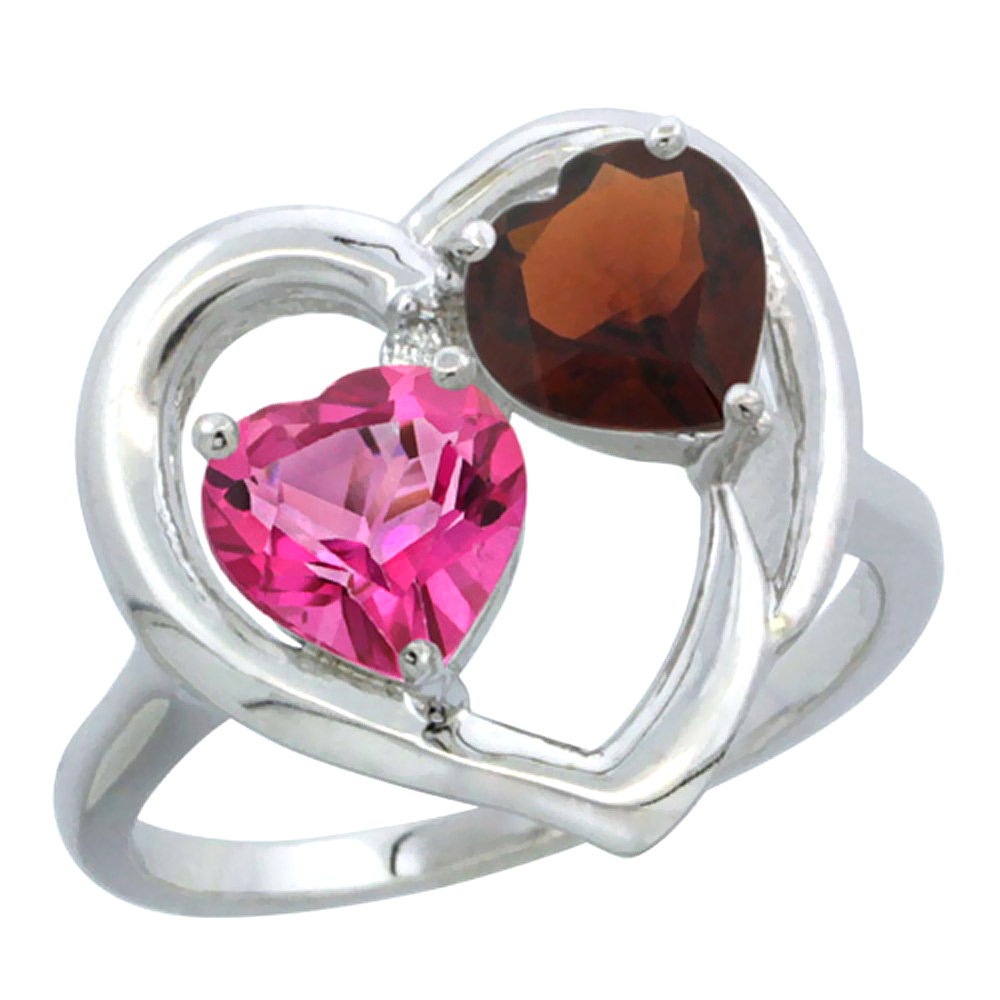 14K White Gold Diamond Two-stone Heart Ring 6 mm Natural Pink Topaz & Garnet, sizes 5-10