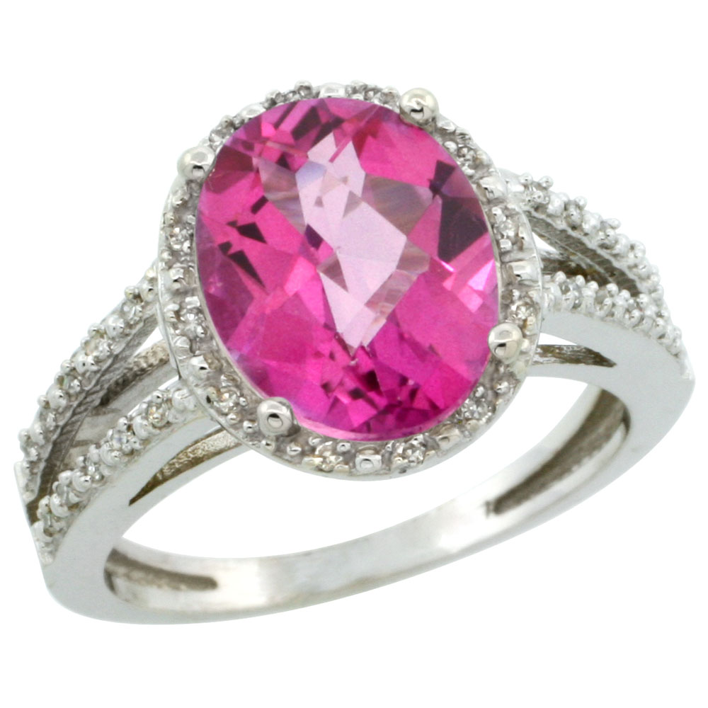 10K White Gold Diamond Natural Pink Topaz Ring Oval 11x9mm, sizes 5-10