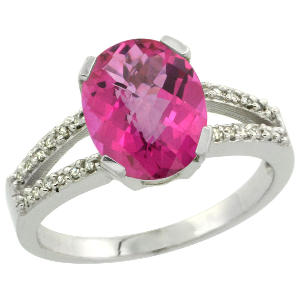 10K White Gold Diamond Natural Pink Topaz Engagement Ring Oval 10x8mm, sizes 5-10