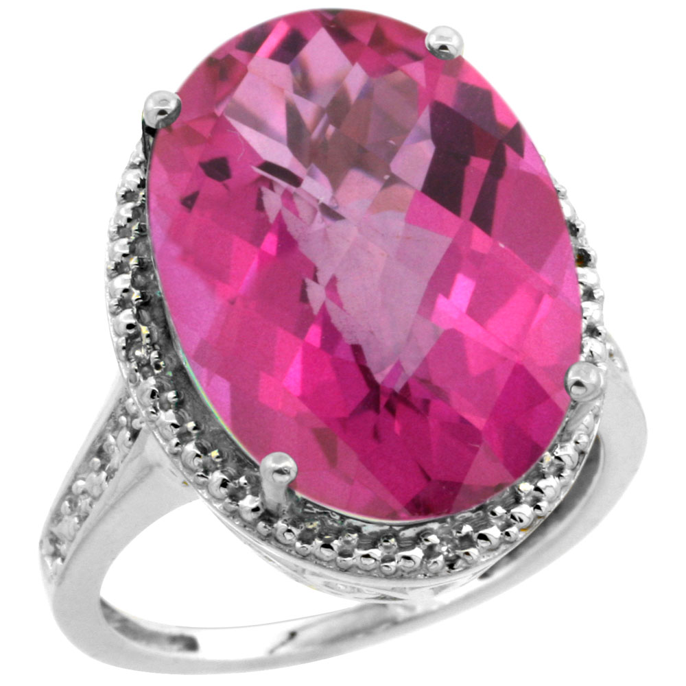 14K White Gold Diamond Natural Pink Topaz Ring Oval 18x13mm, sizes 5-10
