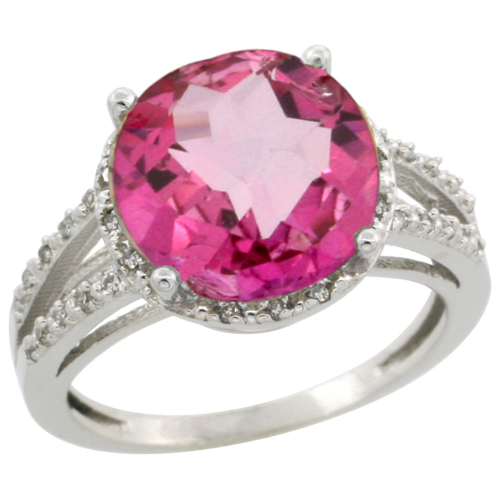 14K White Gold Diamond Natural Pink Topaz Ring Round 11mm, sizes 5-10
