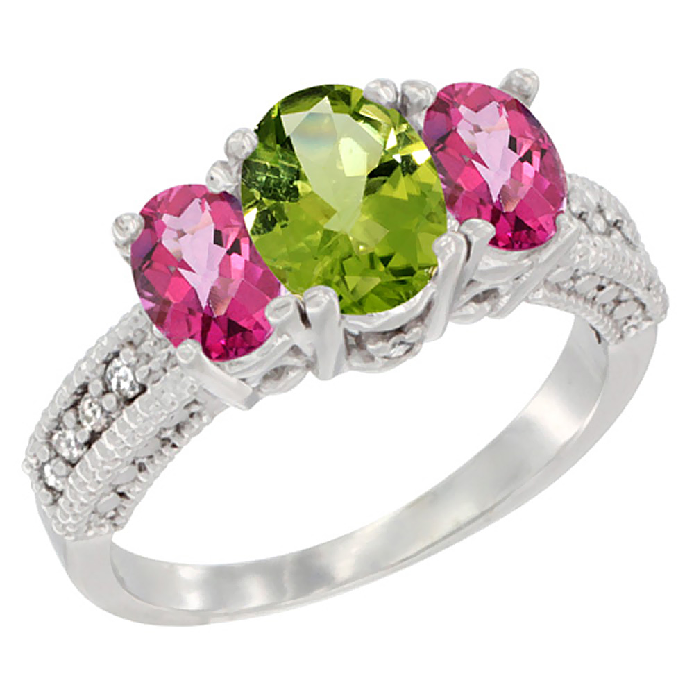 14K White Gold Diamond Natural Peridot Ring Oval 3-stone with Pink Topaz, sizes 5 - 10