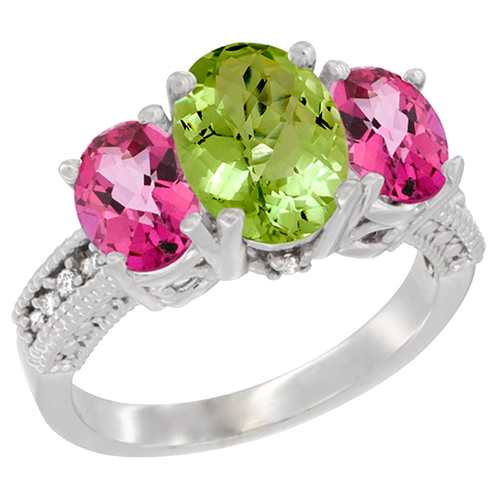 14K White Gold Diamond Natural Peridot Ring 3-Stone Oval 8x6mm with Pink Topaz, sizes5-10