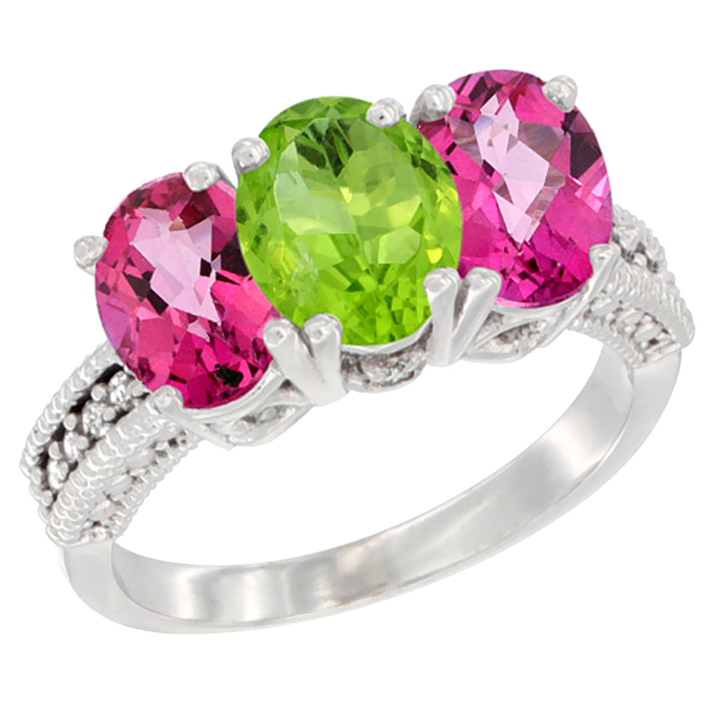 14K White Gold Natural Peridot & Pink Topaz Sides Ring 3-Stone 7x5 mm Oval Diamond Accent, sizes 5 - 10