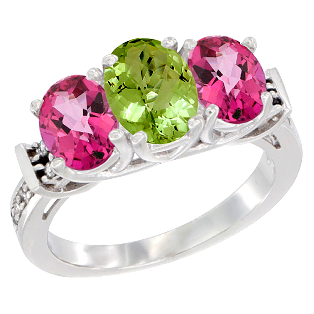 14K White Gold Natural Peridot & Pink Topaz Sides Ring 3-Stone Oval Diamond Accent, sizes 5 - 10