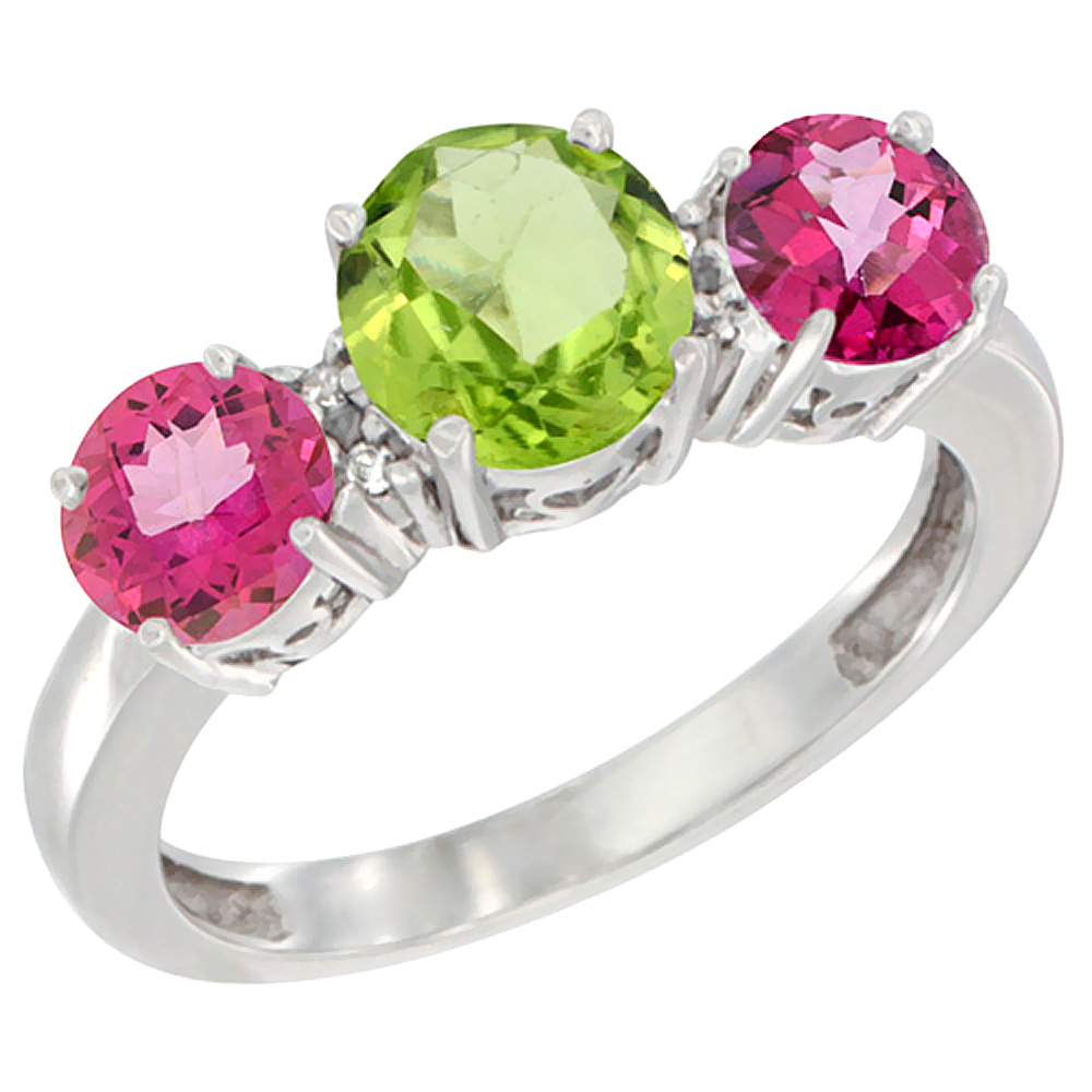 14K White Gold Round 3-Stone Natural Peridot Ring & Pink Topaz Sides Diamond Accent, sizes 5 - 10
