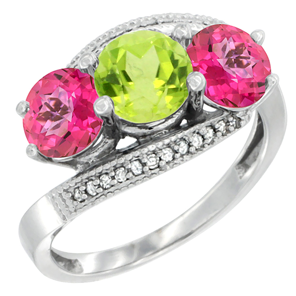 14K White Gold Natural Peridot & Pink Topaz Sides 3 stone Ring Round 6mm Diamond Accent, sizes 5 - 10