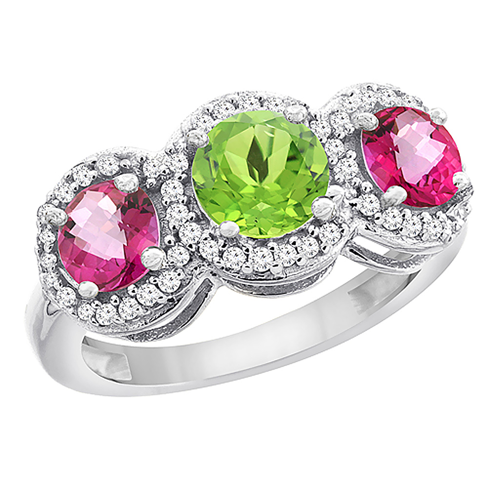 14K White Gold Natural Peridot & Pink Topaz Sides Round 3-stone Ring Diamond Accents, sizes 5 - 10
