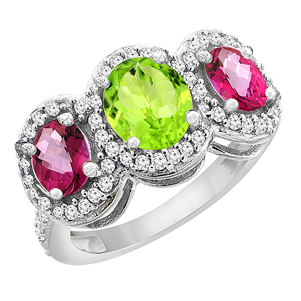 14K White Gold Natural Peridot & Pink Topaz 3-Stone Ring Oval Diamond Accent, sizes 5 - 10