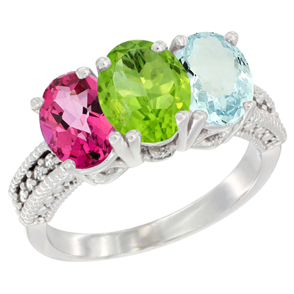 14K White Gold Natural Pink Topaz, Peridot & Aquamarine Ring 3-Stone 7x5 mm Oval Diamond Accent, sizes 5 - 10