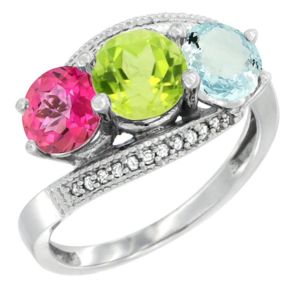 14K White Gold Natural Pink Topaz, Peridot & Aquamarine 3 stone Ring Round 6mm Diamond Accent, sizes 5 - 10