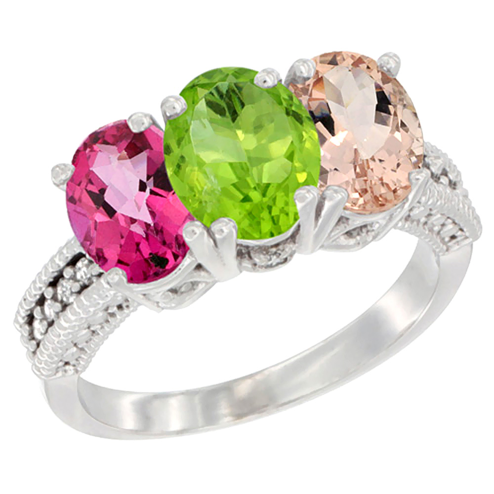 14K White Gold Natural Pink Topaz, Peridot & Morganite Ring 3-Stone 7x5 mm Oval Diamond Accent, sizes 5 - 10