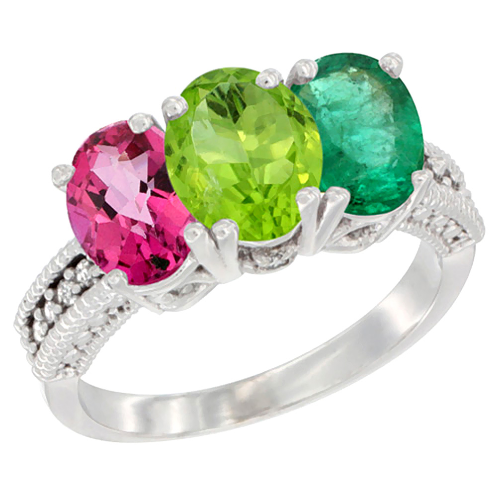 14K White Gold Natural Pink Topaz, Peridot & Emerald Ring 3-Stone 7x5 mm Oval Diamond Accent, sizes 5 - 10