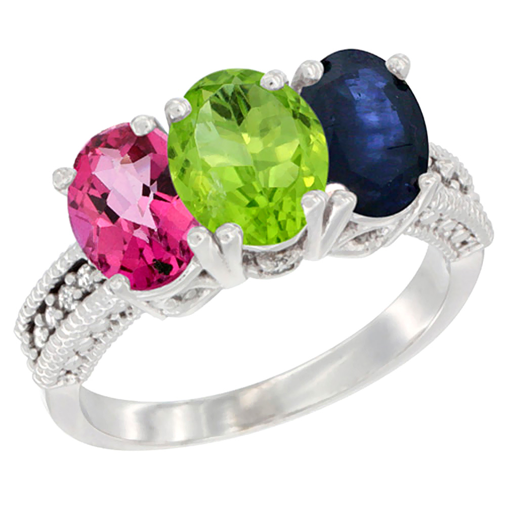 14K White Gold Natural Pink Topaz, Peridot & Blue Sapphire Ring 3-Stone 7x5 mm Oval Diamond Accent, sizes 5 - 10