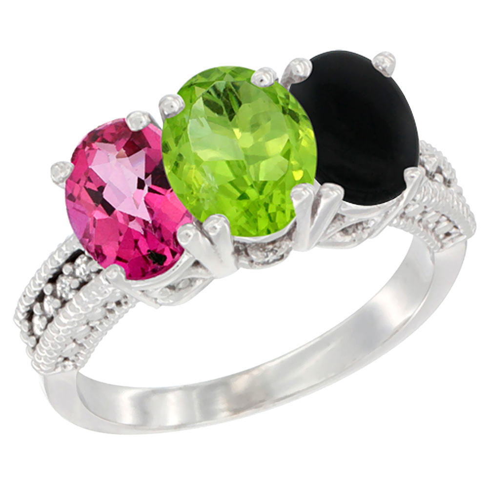14K White Gold Natural Pink Topaz, Peridot & Black Onyx Ring 3-Stone 7x5 mm Oval Diamond Accent, sizes 5 - 10
