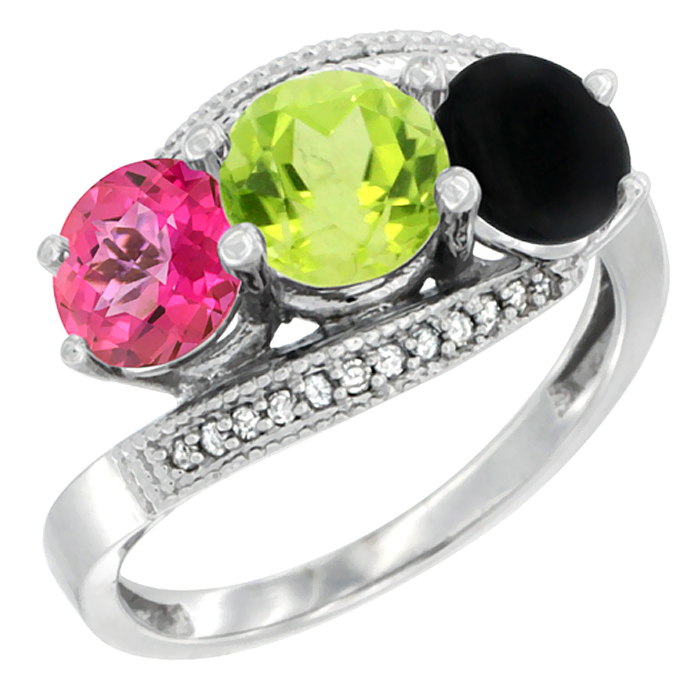 14K White Gold Natural Pink Topaz, Peridot & Black Onyx 3 stone Ring Round 6mm Diamond Accent, sizes 5 - 10