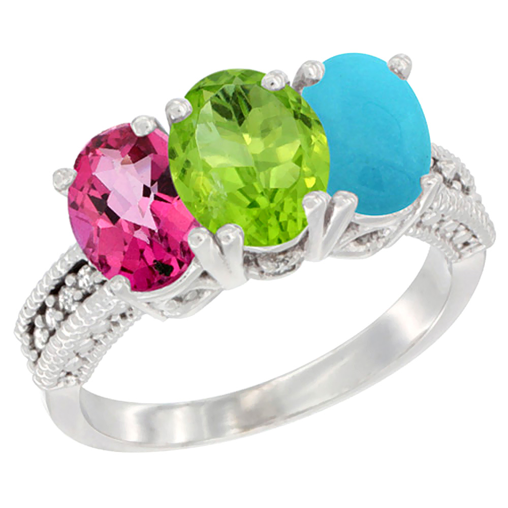 14K White Gold Natural Pink Topaz, Peridot & Turquoise Ring 3-Stone 7x5 mm Oval Diamond Accent, sizes 5 - 10