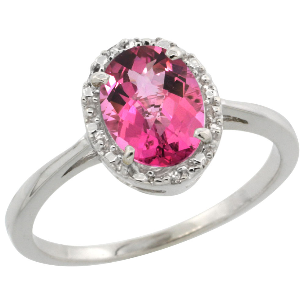 10k White Gold Natural Pink Topaz Ring Oval 8x6 mm Diamond Halo, sizes 5-10