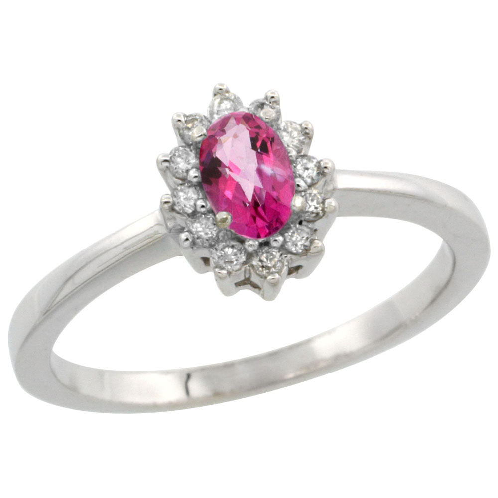 14K White Gold Natural Pink Topaz Ring Oval 5x3mm Diamond Halo, sizes 5-10