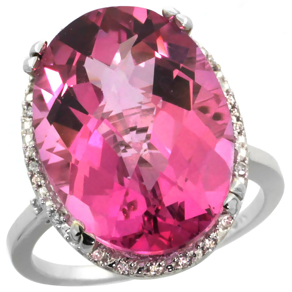 10k White Gold Natural Pink Topaz Ring Large Oval 18x13mm Diamond Halo, sizes 5-10