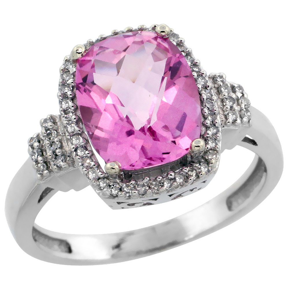 14K White Gold Natural Pink Topaz Ring Cushion-cut 9x7mm Diamond Halo, sizes 5-10