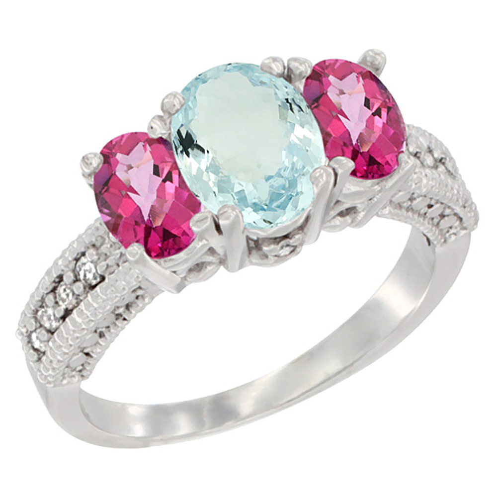 14K White Gold Diamond Natural Aquamarine Ring Oval 3-stone with Pink Topaz, sizes 5 - 10