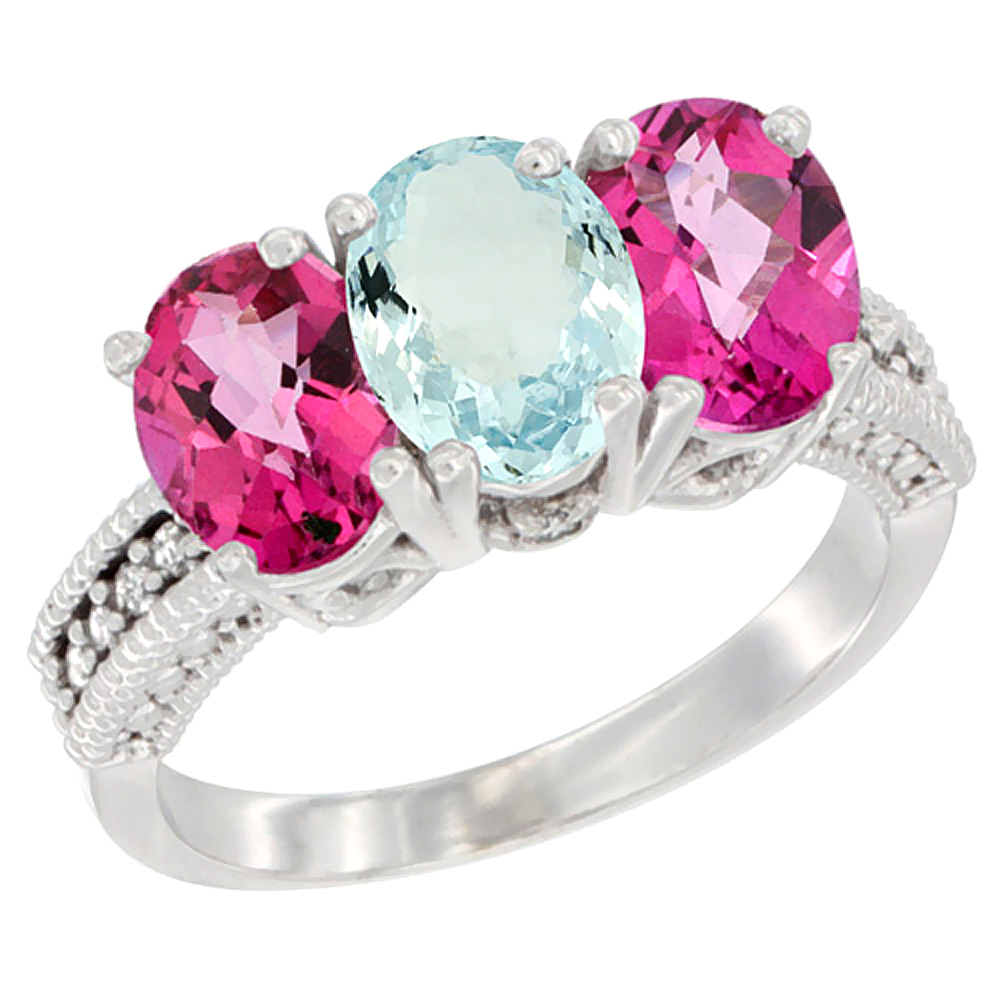 14K White Gold Natural Aquamarine & Pink Topaz Sides Ring 3-Stone 7x5 mm Oval Diamond Accent, sizes 5 - 10