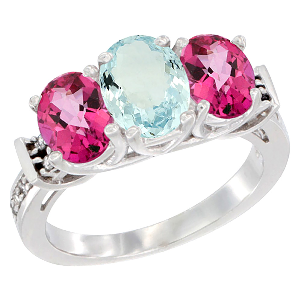 14K White Gold Natural Aquamarine & Pink Topaz Sides Ring 3-Stone Oval Diamond Accent, sizes 5 - 10
