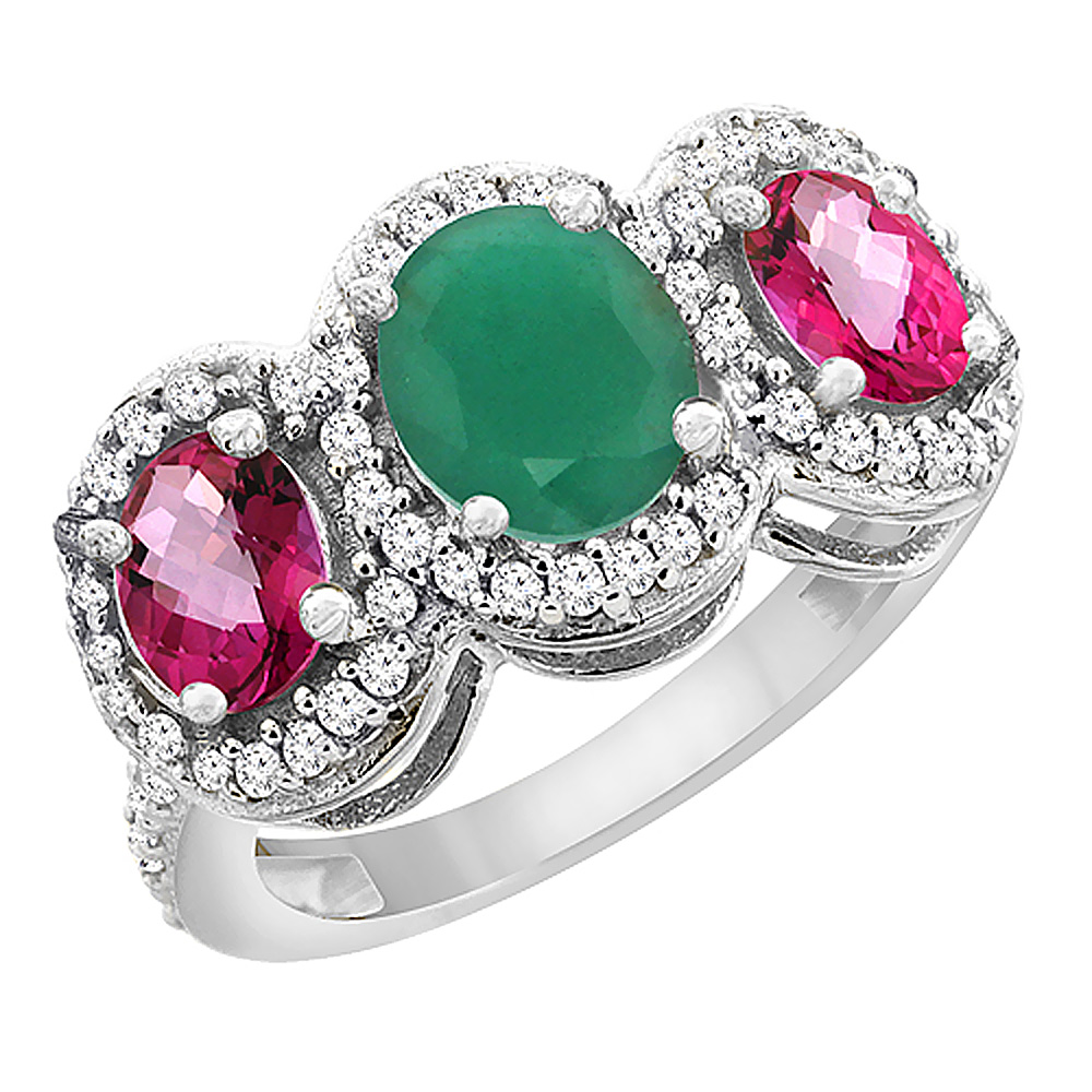 10K White Gold Natural Cabochon Emerald & Pink Topaz 3-Stone Ring Oval Diamond Accent, sizes 5 - 10