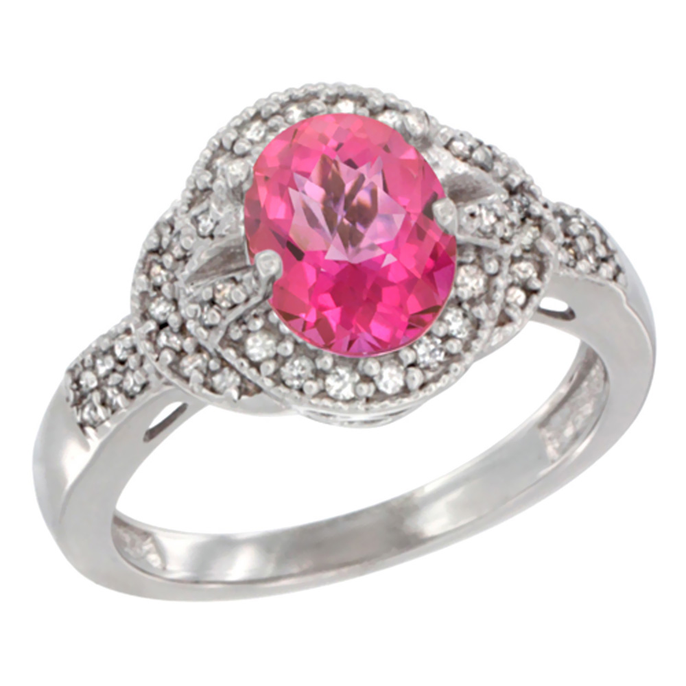 10K White Gold Natural Pink Sapphire Ring Oval 8x6 mm Diamond Accent, sizes 5 - 10