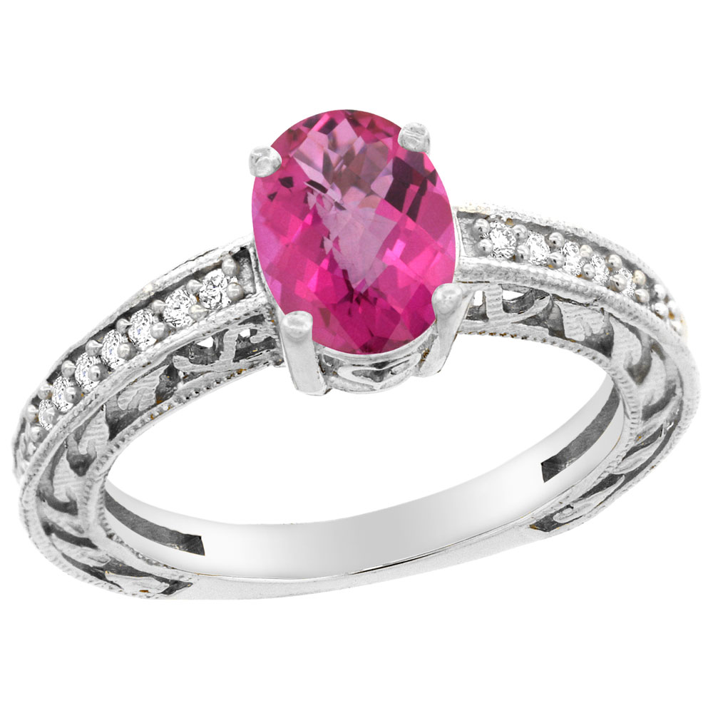 10K Gold Natural Pink Sapphire Ring Oval 8x6 mm Diamond Accents, sizes 5 - 10