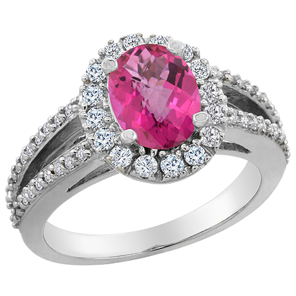 14K White Gold Natural Pink Sapphire Halo Ring Oval 8x6 mm with Diamond Accents, sizes 5 - 10