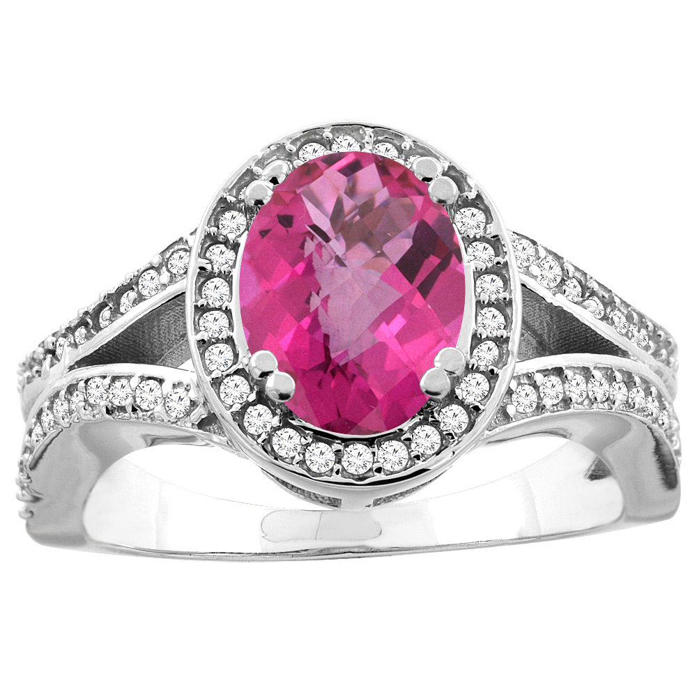 14K White/Yellow Gold Natural Pink Sapphire Split Ring Oval 8x6mm Diamond Accent, sizes 5 - 10