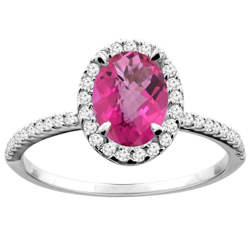 14K White/Yellow Gold Natural Pink Sapphire Ring Oval 8x6mm Diamond Accent, sizes 5 - 10