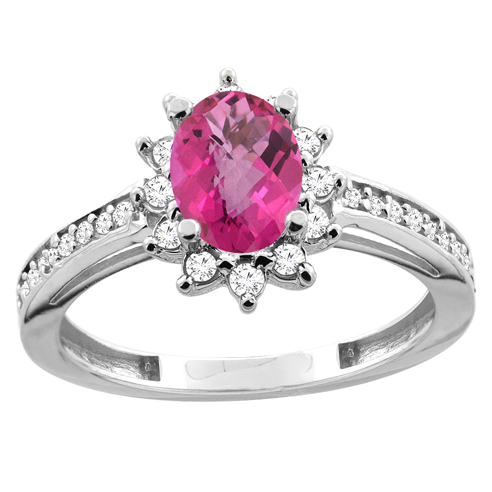10K White/Yellow Gold Diamond Natural Pink Sapphire Floral Halo Engagement Ring Oval 7x5mm, sizes 5 - 10