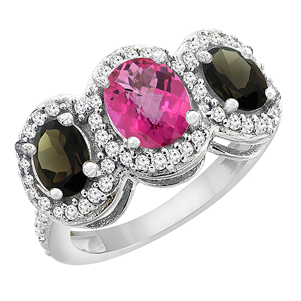 10K White Gold Natural Pink Sapphire & Smoky Topaz 3-Stone Ring Oval Diamond Accent, sizes 5 - 10
