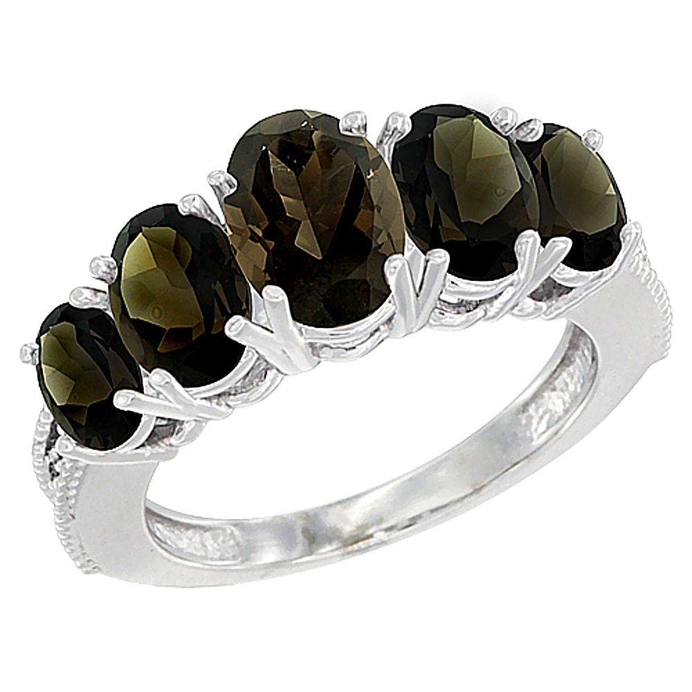 10K White Gold Diamond Natural Smoky Topaz Ring 5-stone Oval 8x6 Ctr,7x5,6x4 sides, sizes 5 - 10