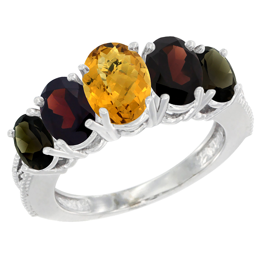 14K White Gold Diamond Natural Whisky Quartz,Garnet,Smoky Topaz Ring 5-stone Oval 8x6 Center,7x5,6x4,sz5-10