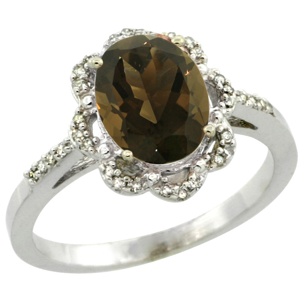 14K White Gold Diamond Halo Natural Smoky Topaz Engagement Ring Oval 9x7mm, sizes 5-10