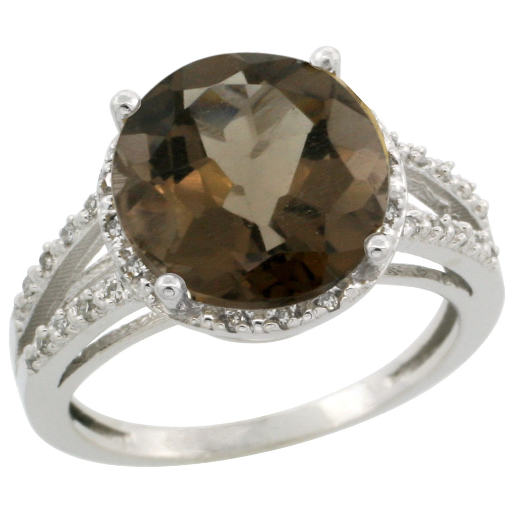 14K White Gold Diamond Natural Smoky Topaz Ring Round 11mm, sizes 5-10