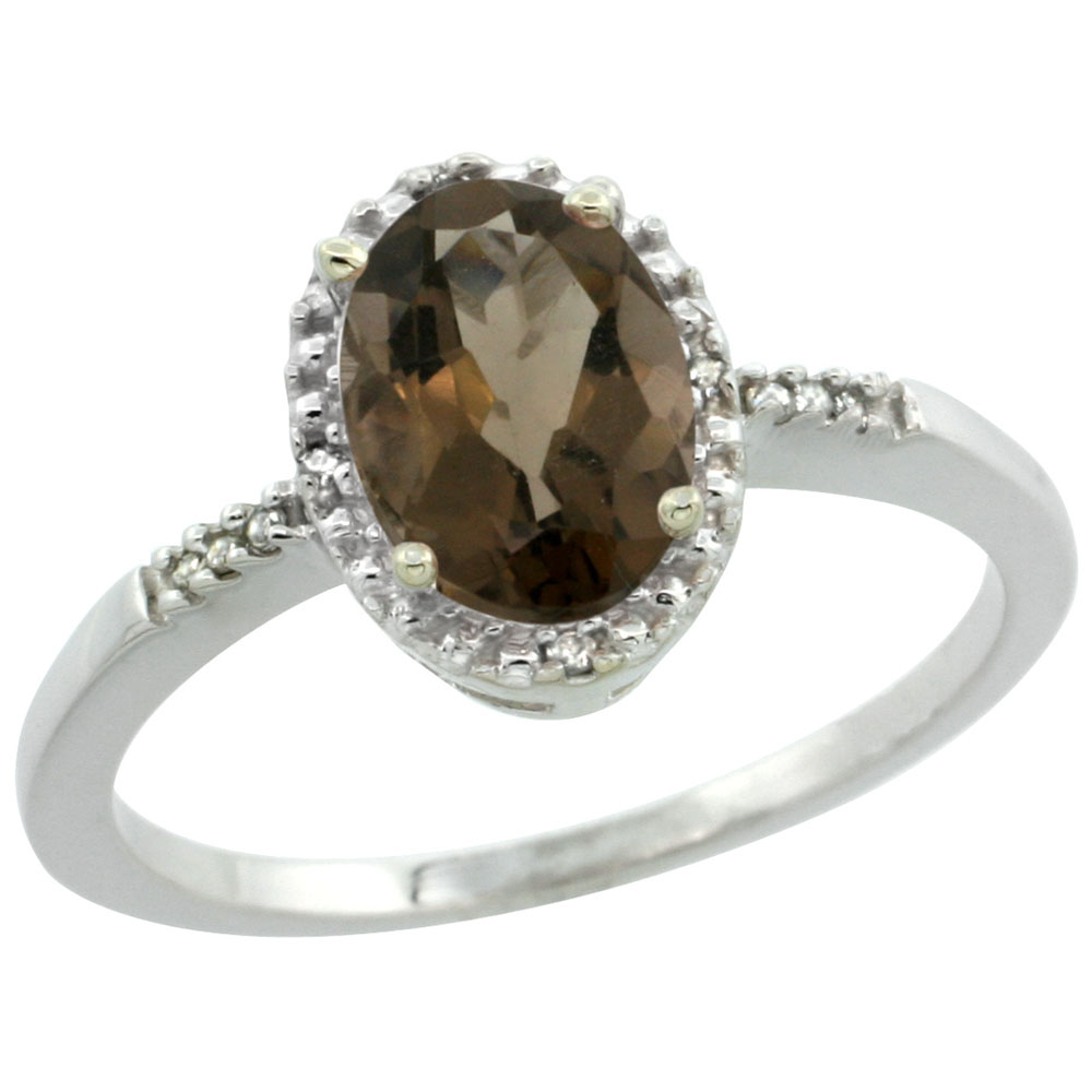 14K White Gold Diamond Natural Smoky Topaz Ring Oval 8x6mm, sizes 5-10