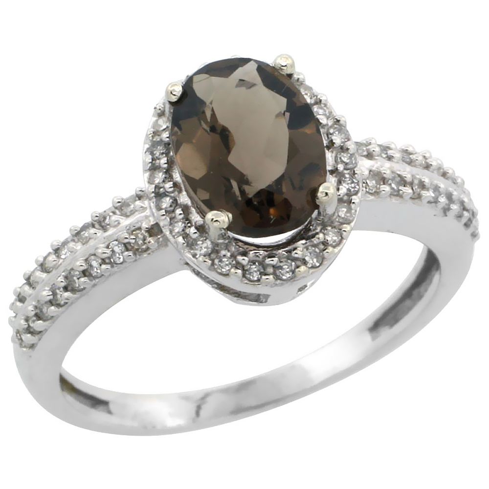 14K White Gold Natural Smoky Topaz Ring Oval 8x6mm Diamond Halo, sizes 5-10