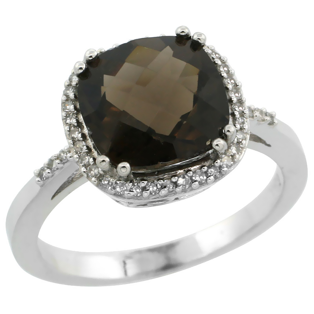 14K White Gold Diamond Natural Smoky Topaz Ring Cushion-cut 9x9mm, sizes 5-10